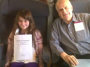 Grandpa and Gracie on the train to Arcachon