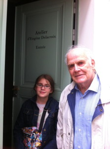 G-pa and Gracie in front of the Delacroix Museum