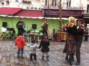 Singing and Dancing on la rue Mouffetard. Fun for all ages!